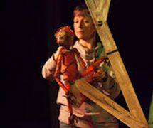 Monkey, in <em>The Journey Home</em> (2015) by Little Angel Theatre (London, UK), direction: Steve Tiplady, design: Sally Connie Todd, puppet construction: Michael Fowkes. Tabletop puppetry, height: 30 cm. Photo: Ellie Kurttz
