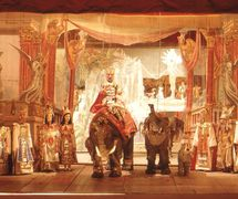 <em>Aida</em>, a production of the Lupi family of Italian puppeteers. String puppetry and elaborate backdrops and sets. Photo courtesy of Istituto per i Beni Marionettistici e il Teatro Popolare (Turin, Italy)