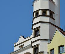 Twin towers of Mydlář House, residence of Muzeum loutkářských kultur Chrudim (Chrudim, Czech Republic). Photo: Ivana Krennerová, © MLK