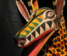 A rod puppet representing an antelope made of cloth with carved wood head and articulations from Bamana, Mali. The Lettie Connell Schubert Collection, Northwest Puppet Center. Photo: Dmitri Carter
