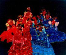 Une scène de <em>Festança no Reino da Mata Verde</em> (1977) par Mamulengo Só-Riso représentant deux chorales de bergères, un chœur vêtu de rouge, l'autre en bleu, du <em>Pastoril</em>, l'une des quatre principales représentations populaires du Nordeste avec la danse, le théâtre et la musique qui ont lieu traditionnellement à Noël (Olinda, État de Pernambouc, Brésil). Photo: Fernando Augusto Gonçalves