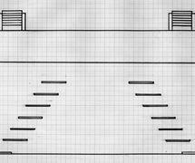 Reconstrucción, por Francisco J. Cornejo, de la máquina real según diversa documentación existente y a partir de las medidas del escenario construido en 1772 en el Corral del Príncipe, de Madrid, para la máquina real de Cristóbal Franco: 24 x 10 pies (aprox. 6,70 x 2,80 m). Planta