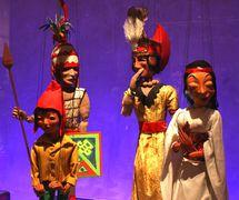 Characters in <em>Tintin</em> et le temple du soleil (1964) by Micheline Legendre, Les Marionnettes de Montréal, direction: Micheline Legendre. Zorino and Inca friends (various shows). String puppets, height: 55-60 cm, wood, plastic wood, fabric, wool