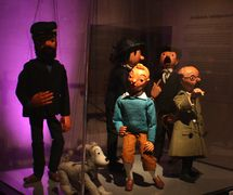 Principal characters in <em>Tintin</em> (1964) by Micheline Legendre, Les Marionnettes de Montréal, direction: Micheline Legendre. <em>Tintin</em>, Milou, Capitaine Haddock, Professeur Tournesol, Dupond and Dupont (various shows). String puppets, height: 55-60 cm, wood, plastic wood, fabric, wool