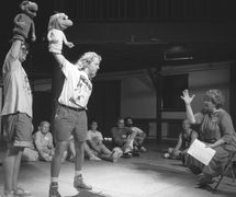Jane Henson directing Muppet manipulation at the National Puppetry Conference at the Eugene O'Neill Theater Center (1991). Photo: Richard Termine
