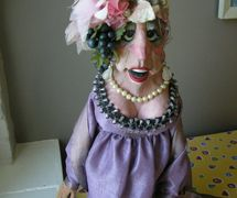 """Mrs Gertrude Diddle, star of television series <em>Hi Diddle Day</em> which ran on CBC from 1967-1976. Glove and rod puppet made of latex rubber, foam and fabric, height: 45 cm (18""""), design and fabrication: Noreen Young. Collection: Ronnie Burkett (2008). Photo: Noreen Young"""
