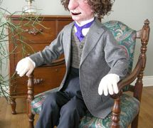 Sir John A, historical 2-hander puppet with life-size head made of latex rubber, foam and fabric, height: 61 cm (2'), fabrication: Noreen Young for History Channel. Collection: Canadian Museum of History, Ottawa (2002). Photo: Noreen Young