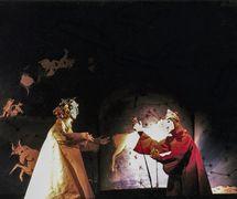 <em>L'inferno di Dante</em> (Rome, 1982), a production of Nuova Opera dei Burattini, adaptation: Michele Mirabella, direction: Michele Mirabella, scenography: Enrica Biscossi, puppets: Maria Signorelli, voices: Bruno Alessandro, Rodolfo Baldini, Renata Biserni, Claudio De Angelis, Arnoldo Foà, Vittorio Gassman, Michele Mirabella. Photo courtesy of Collezione Maria Signorelli
