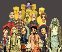Collection of <em>burattini</em> (puppets) from the Fondazione Famiglia Sarzi museum, La Casa dei Burattini di Otello Sarzi. Photo courtesy of Fondazione Famiglia Sarzi (Reggio Emilia, Italy)