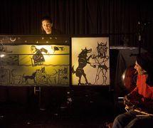 Munawirtum, the midwife of Mesopotamia, in <em>Amanili Sings, a Mesopotamian lullaby</em> (2004) by Train Theater of Jerusalem, dire<em>c</em>tion, design, text, <em>c</em>onstru<em>c</em>tion, puppetry: Patri<em>c</em>ia O'Donovan, musi<em>c</em>: Yarden Erez. Shadow Theatere, height: 25-30 <em>c</em>m. Photo courtesy of Patricia O'Donovan. Photo: Yonatan Tzur
