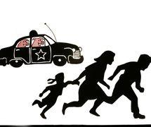<em>The Mother of All Enemies</em> (2003), théâtre d'ombres par Paul Zaloom. Scène avec une famille fuyant les policiers