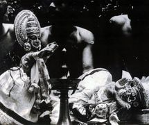 Pava<em>kathakali</em>, glove puppetry of Kerala, India. Photo courtesy of Sampa Ghosh