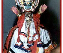 Rama, a pava<em>kathakali</em> glove puppet (Kerala, India). Photo courtesy of Sampa Ghosh