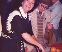 Penny Francis at the 10th anniversary party of the Puppet Centre Trust (1984). Photo courtesy of Penny Francis