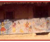 S<em>c</em>roll-like banner for putul na<em>c</em>h string puppetry of Tripura, India. Photo courtesy of Sampa Ghosh