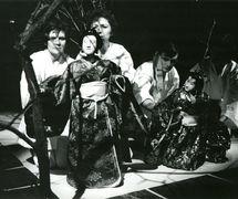 <em>Assago</em> (1986) by Divadlo Radost (Brno, Czech Republic), direction: Petr Kracik, design: Jaroslav Milfajt. Performers featured in photo (from left to right): Jitka Kalábová, Anděla Čisáriková, Zdeněk Ševčík, Lída Janků. Photo courtesy of Archive of Loutkář. Photo: Vladislav Vaňák © Radost