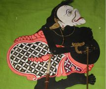 Semar, una figura de sombra de Banjar, <em>wayang</em> kulit Banjar, Kalimantan del Sur, Indonesia. Foto: Karen Smith