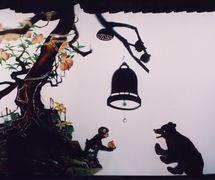 <em>Deux bons amis</em> (两个好朋友, 2005) par Shaanxisheng Minjian Yishu Juyuan (District de Yanta, Xi'an, province du Shaanxi, République populaire de Chine), mise en scène : Zhao Yuming, scénographieet fabrication : Luo Aixiang, marionnettistes : Yan Zhengyi, Hou Pu, Wang Shujuan, Zhao Hong. Théâtre d'ombres. Photo: Deng Jinqiu
