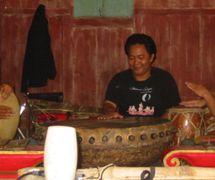 Slamet Gundono's musicians rehearsing with instruments from around the world (2007). Photo: Karen Smith
