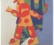 <em>Balli Plastici</em> (1917-1918) by the Futurist artist Fortunato Depero (1892-1960) performed by Vittorio Podrecca's theatre, Teatro dei Piccoli. Photo courtesy of Istituto per i Beni Marionettistici e il Teatro Popolare (Turin, Italy)