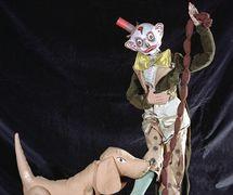 The character Fortunello and dog, a scene in <em>Varietà</em> (1930) by Teatro dei Piccoli. String puppets. Collezione Maria Signorelli. Photo: Maristella Campolunghi / Teresa Bianchi