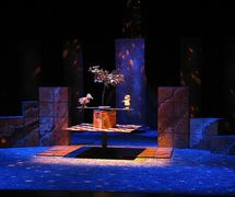 <em>La Chevelure de Bérénice</em> (year of creation 2003) by Théâtre de Sable (1993-2013), direction: Gérard Bibeau, scenography and puppet design: Josée Campanale, fabrication: Josée Campanale assisted by Réjean Bibeau. Puppets featured in the photo: Ti-Bonhomme, height: 25 cm, wood, papier-mâché; Tit-Oiseau, height: 30 cm, wood, papier-mâché. Collection: Musée de la civilisation, gift of Théâtre de Sable, 2012-826-38; 2012-826-39. Photo: Josée Campanale