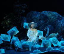 <em>Quasi Umbra ou le Roman de Stella</em> (year of creation 2006) by Théâtre de Sable (1993-2013), direction: Gérard Bibeau, scenography and puppet design: Josée Campanale, fabrication: Josée Campanale assisted by Réjean Bibeau. Puppet featured in the photo: Stella on pack ice, height: 145 cm, wood, fibreglass, fabric. Collection: Musée de la civilisation, gift of Théâtre de Sable, 2012-827-2