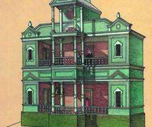 Gravure d'un vertep, une boîte-théâtre de style Sokyryntsi (1882, village de Sokyryntsi, l'oblast de Poltava, Ukraine <em>c</em>entrale), publié ave<em>c</em> le premier arti<em>c</em>le sur le drame du vertep et sa mise en s<em>c</em>ène par Grigory Galagan, publié dans la revue ethnographique, <em>Ki</em>evskaya starina (Antiquité <em>Ki</em>evan, 1882 ). Colle<em>c</em>tion : Musée d'Etat de Théâtre, Musique et Cinéma d'Ukraine (Kyiv)