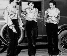 """Founders of American puppet company, Yale Puppeteers: (from left to right) Forman Brown (1901-1996), Richard """"Roddy"""" Brandon (1904-1985), Harry Burnett (1901-1993). Photo (dated 1929) from <em>Small Wonder: The Story of the Yale Puppeteers and the Turnabout Theatre</em> by Forman George Brown (1980); published in an earlier version of Punch's Progress (Macmillan, 1936) by Forman Brown"""