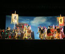 <em>The Battle at Tongguan</em> (战潼关, 1962) by Zhangzhoushi Muou Jutuan (Xiangcheng District, Zhangzhou, Fujian Province, People's Republic of China), script: Yang Sheng (deceased), direction: Hong Huijun, design/construction: Yang Junwei, puppeteers: Yao Wenjian, Wu Jinliang, Liang Zhihuang, Xu Kunhuang, and others. Glove puppets, height: 45 cm. Photo: Chen Weiqi