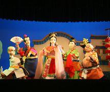 <em>Matchmaking</em> (招亲, 2006) by Zhangzhoushi Muou Jutuan (Xiangcheng District, Zhangzhou, Fujian Province, People's Republic of China), script: Shen Zhihong, direction: Hong Huijun, design/construction: Yang Junwei, puppeteers: Chen Lihui, Chen Liling, Zhuang Shoumin, Cai Bohui, Chen Yansen. Glove puppets, height: 45 cm. Photo: Chen Weiqi